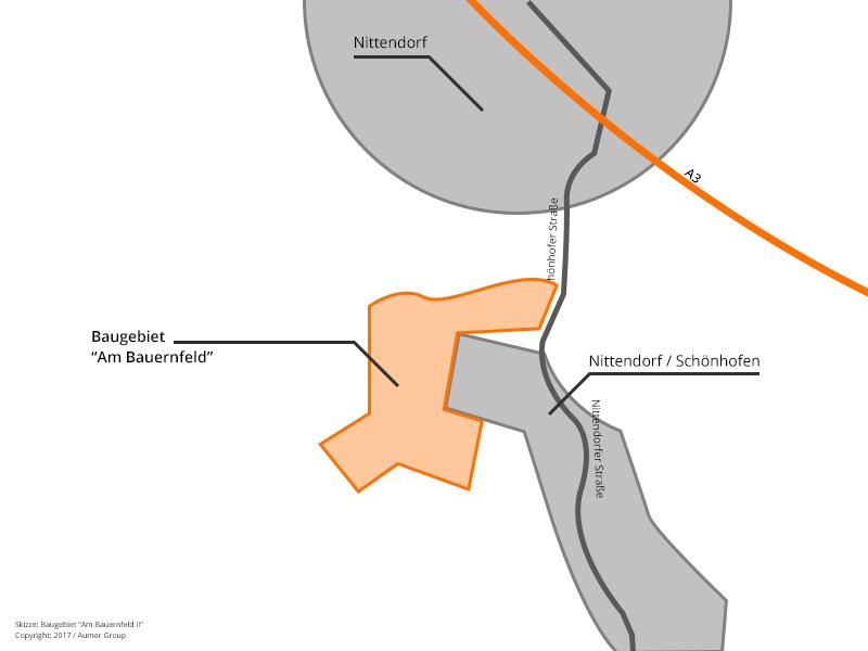"""Lage des Baugebiet """"Am Bauernfeld II"""", Nittendorf"""