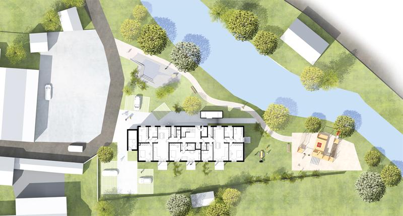 Planungsentwurf des Aumer Mehrfamilienhaus in Wiesent