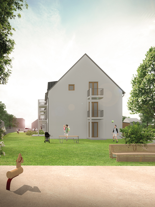 Visualisierung Aumer Mehrfamilienhaus mit Spielplatz
