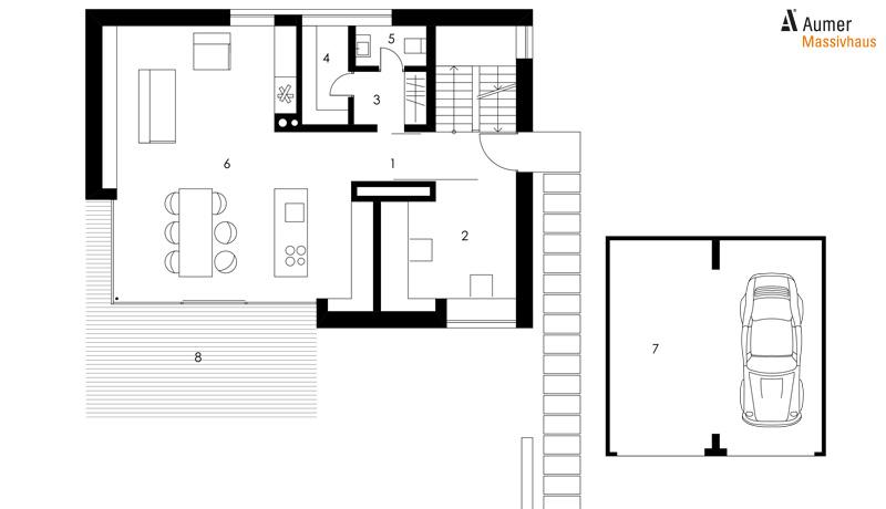 Nice Aumer Massivhaus: Designhaus Gruber, Grundriss Erdgeschoss
