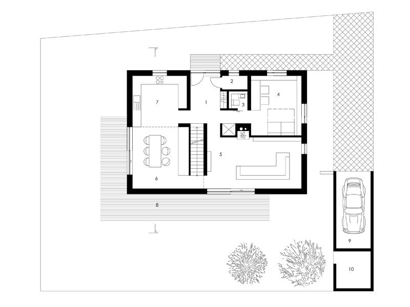 Aumer Massivhaus, Designhaus Schambeck, Grundriss Erdgeschoss