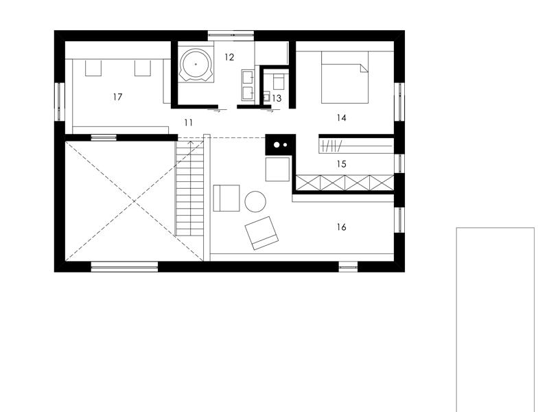 Aumer Massivhaus, Designhaus Schambeck, Grundriss Obergeschoss