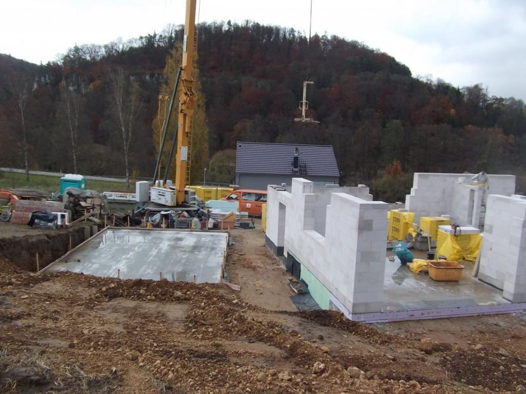Aumer Massivhaus - Bauablauf - Erstellung des Mauerwerks