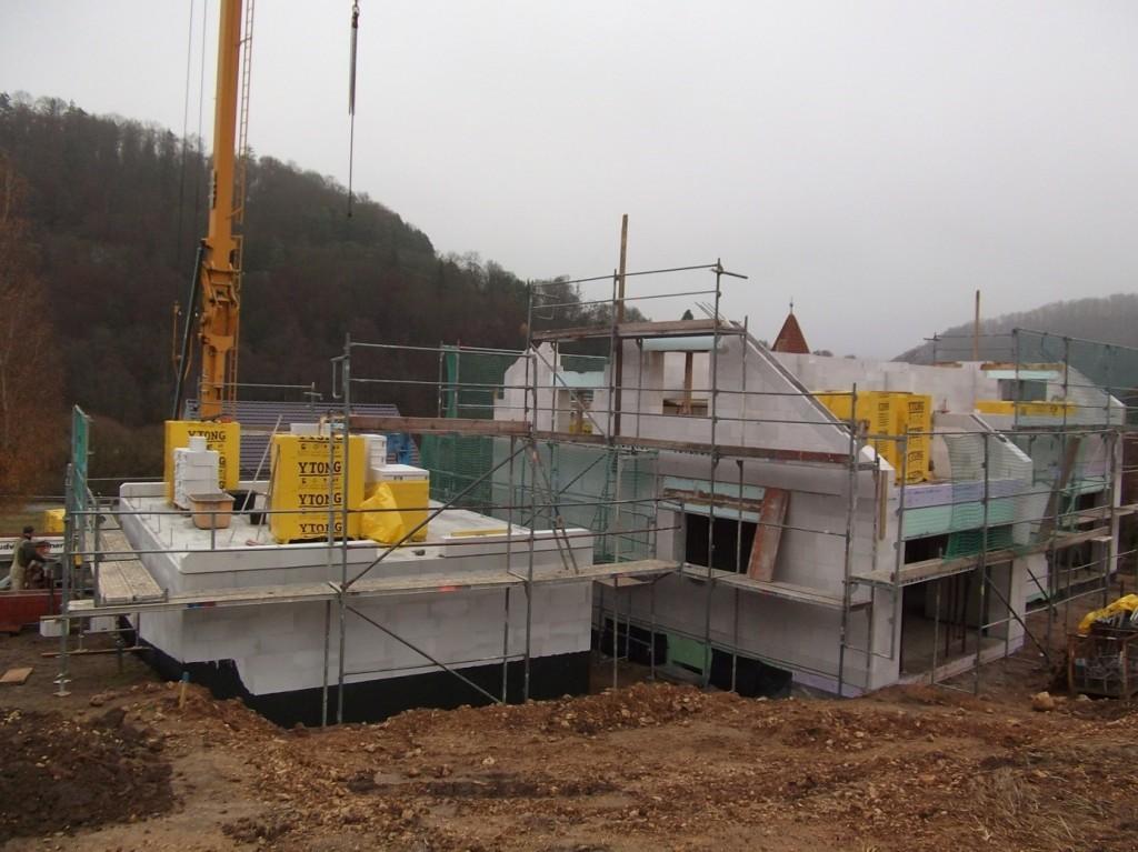 Aumer Massivhaus - Bauablauf - Gerüstaufbau