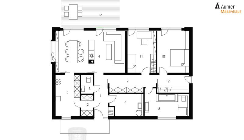 Aumer Massivhaus Typ Bungalow 121 Grundriss