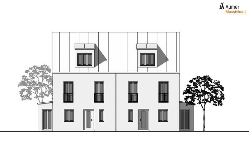 Aumer Massivhaus Typ Doppelhaus Ansicht Norden
