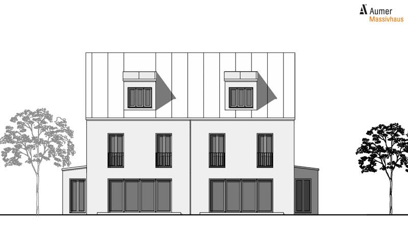 Aumer Massivhaus Typ Doppelhaus Ansicht Süden