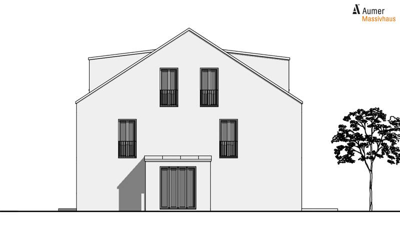 Aumer Massivhaus Typ Doppelhaus Ansicht Westen