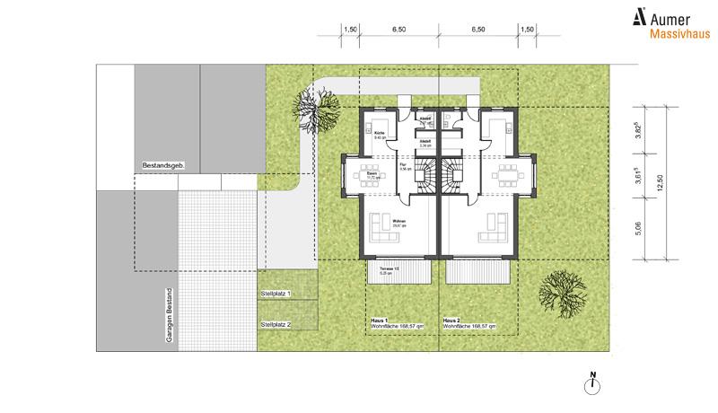 Aumer Massivhaus Typ Doppelhaus Vorentwurf
