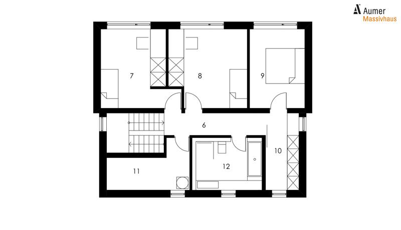 Aumer Massivhaus Typ Familienhaus 149 Grundriss Dachgeschoss