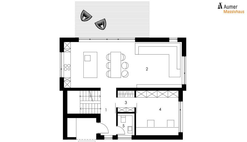 Aumer Massivhaus Typ Familienhaus 149 Grundriss Erdgeschoss