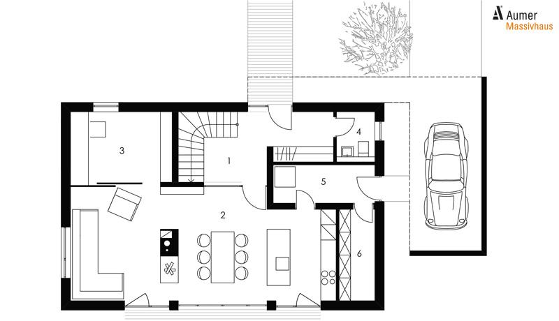 Aumer Massivhaus Typ Familienhaus 155 Grundriss Erdgeschoss