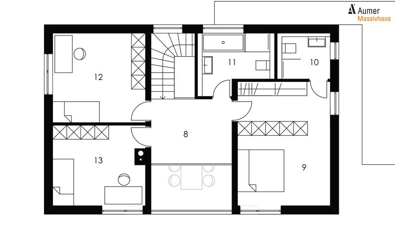 Aumer Massivhaus Typ Familienhaus 155 Grundriss Obergeschoss
