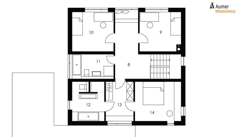 Aumer Massivhaus Kubus 145 Grundriss Obergeschoss