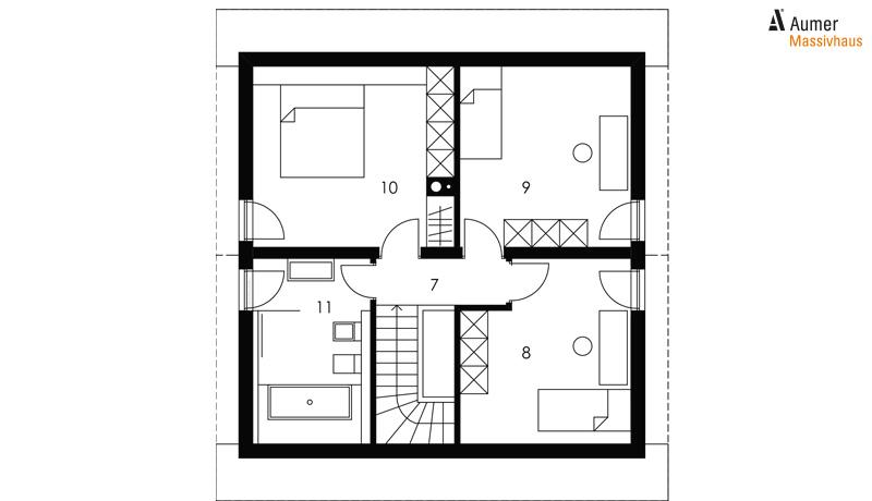Aumer Massivhaus Typ Raumwunder 110 Grundriss Dachgeschoss