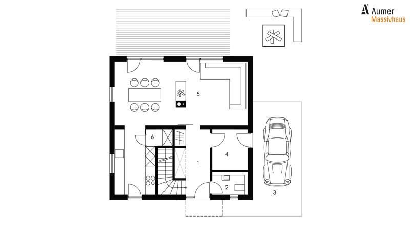 Aumer Massivhaus Typ Raumwunder 110 Grundriss Erdgeschoss