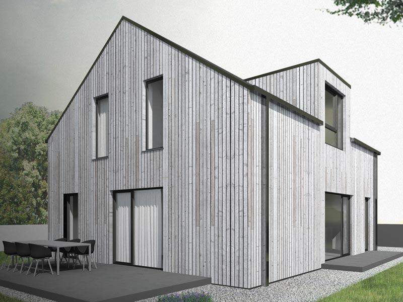 Aumer Massivhaus Typ Raumwunder 132 Holzverschalung