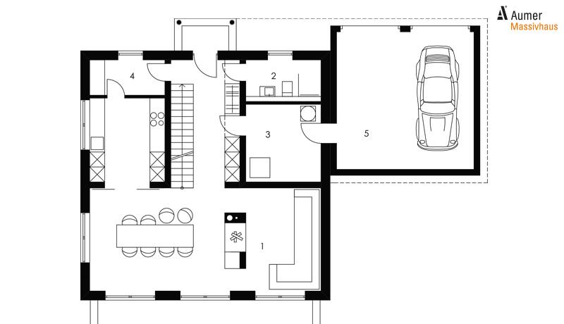 Aumer Massivhaus Typ Toskana 160 Grundriss Erdgeschoss