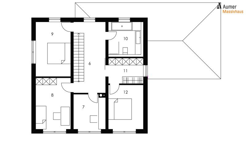 Aumer Massivhaus Typ Toskana 160 Grundriss Obergeschoss