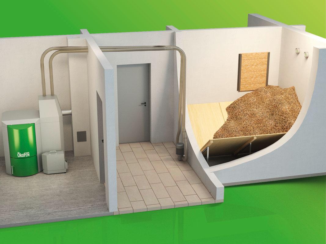 Pelletheizung (Pellematic) mit Vakuumsystem und Lagerraum