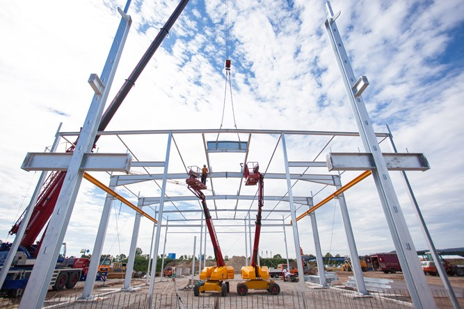 Aumer Group Baufortschritt Firmenzentrale Werkstatt