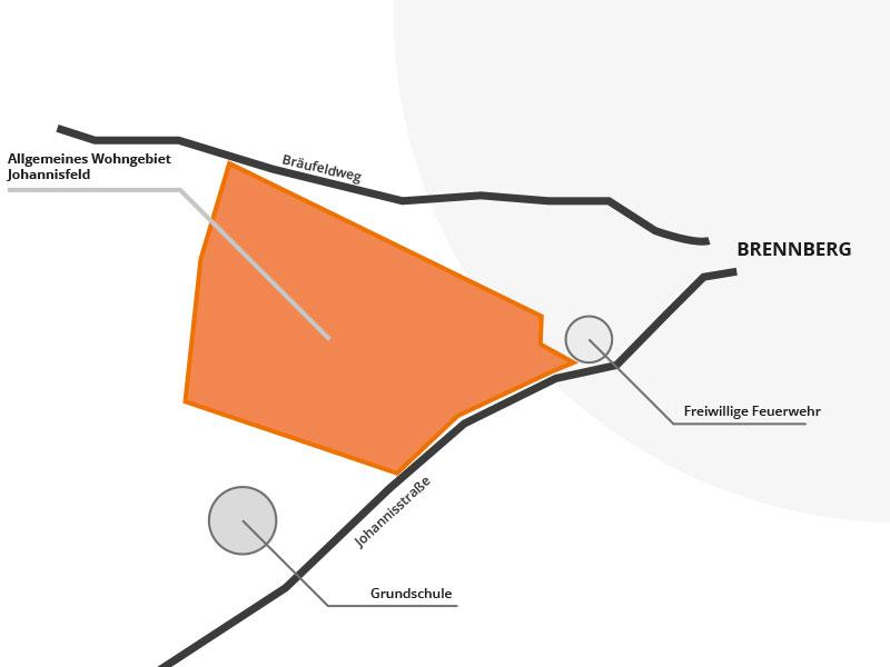 Baugebiet Johannisfeld, Brennberg, Kartenansicht