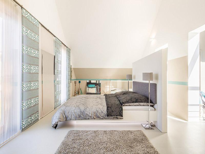Das Schlafzimmer im Musterhaus von Aumer Massivhaus, München
