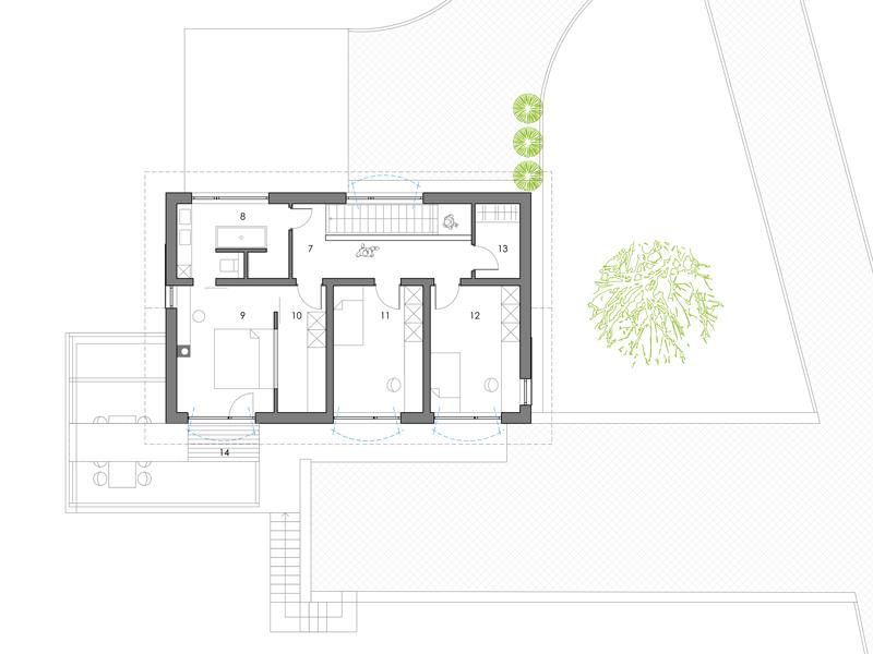 Familienhaus Landleben, Ansicht Grundriss Obergeschoss