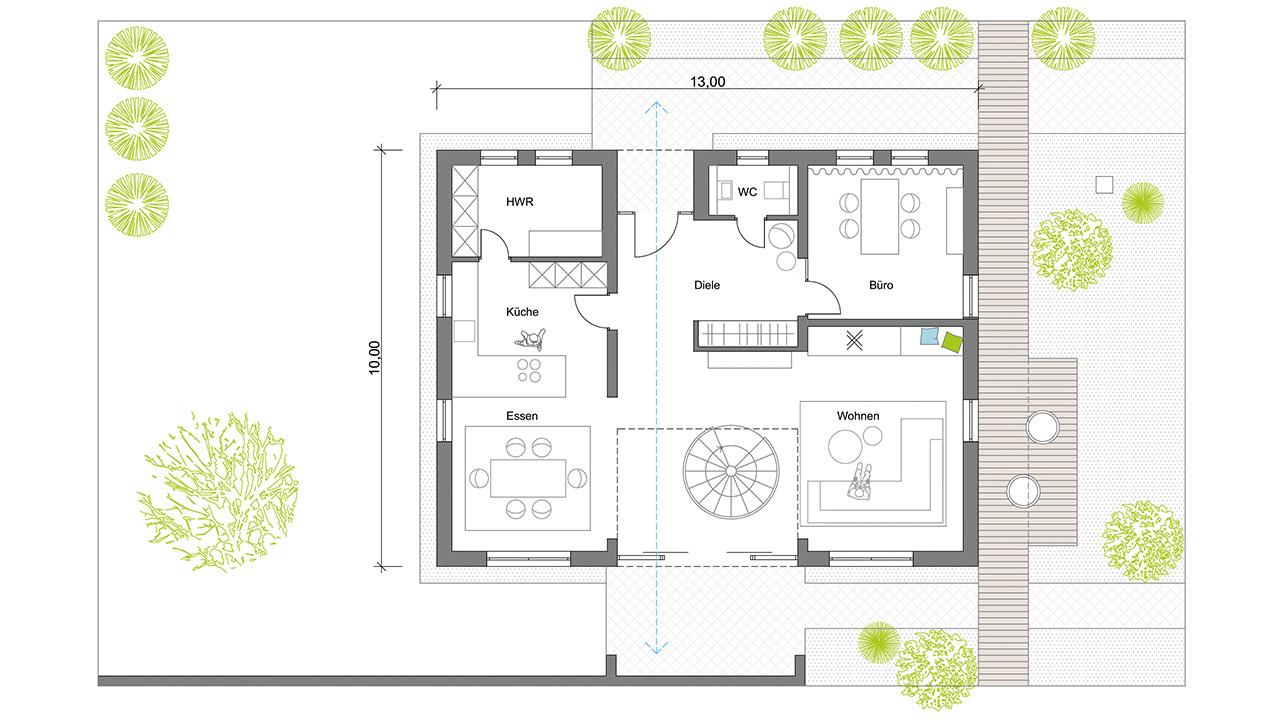 Grundriss, Aumer Massivhaus, Musterhaus Poing, Erdgeschoss