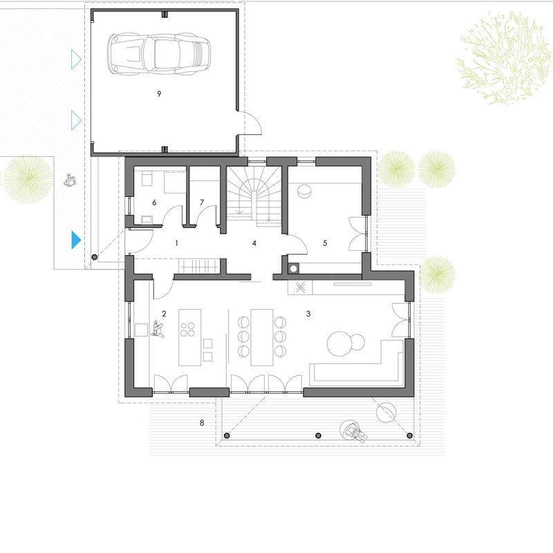 Grundriss, Erdgeschoss, Toskana 155