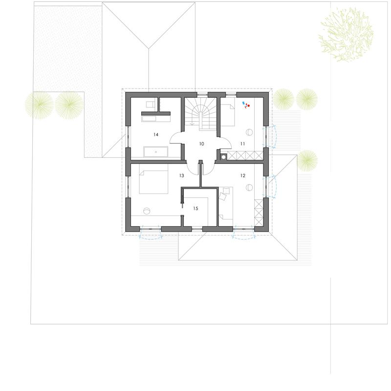 Grundriss, Obergeschoss, Toskana 155