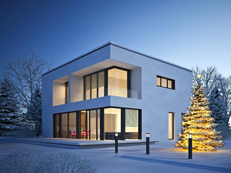 Massivhaus Winter Automatisierte Heizung
