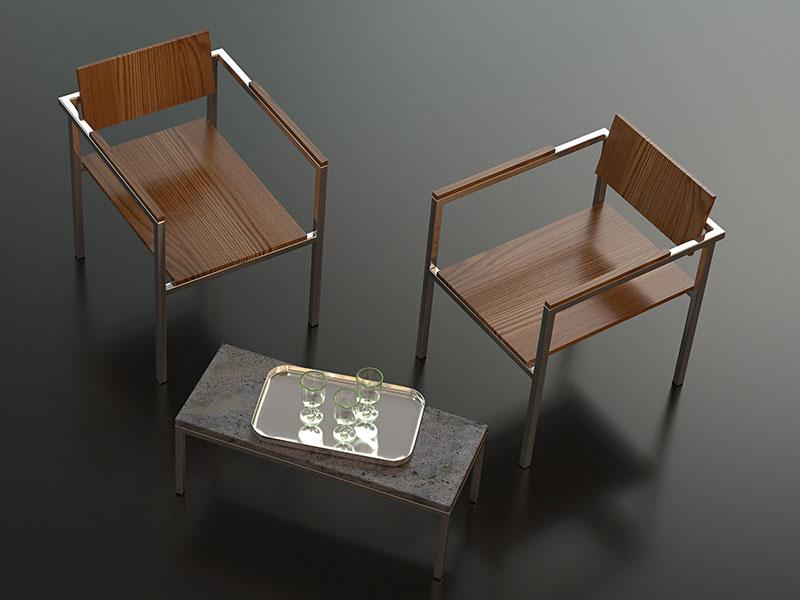Stühle, angelehnt an das Bauhausdesign