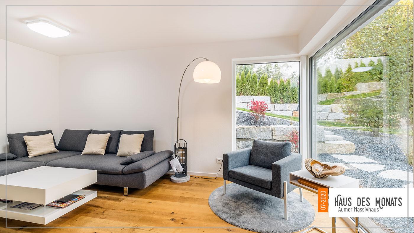 Wohnzimmer, Haus des Monats Juli 2020, Aumer Massivhaus